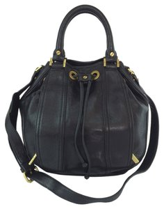 Tory Burch Small Bucket Leather Tote in Black