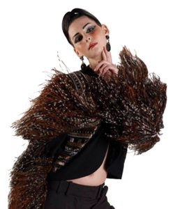 Bob Mackie Vintage Ostrich One Of A Kind Bolero Jacket black brown Blazer
