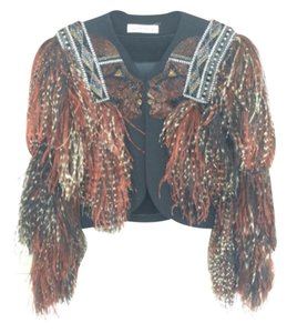 Bob Mackie Vintage Ostrich One Of A Kind Jacket black brown Blazer