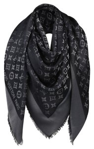 Louis Vuitton Auth Louis Vuitton Black With Silver Monogram Large Shawl/ Scarf