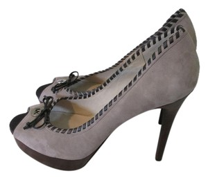 Michael Kors Suede 5in Heel Never Been Worn Peep Toe Brown and Taupe Pumps