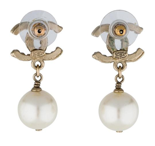Chanel Satin gold-tone Chanel CC faux pearl drop earrings