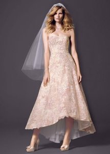 Oleg Cassini Strapless High Low Ball Gown With Colored Lace Wedding Dress