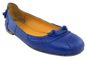 Balenciaga Leather Studded Perforated Lambskin Blue Flats