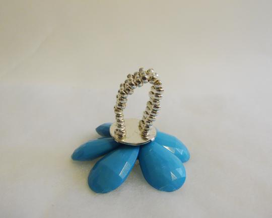 Other Large Blue Faceted Petal Clear Crystal Flower Stretch Statement Ring