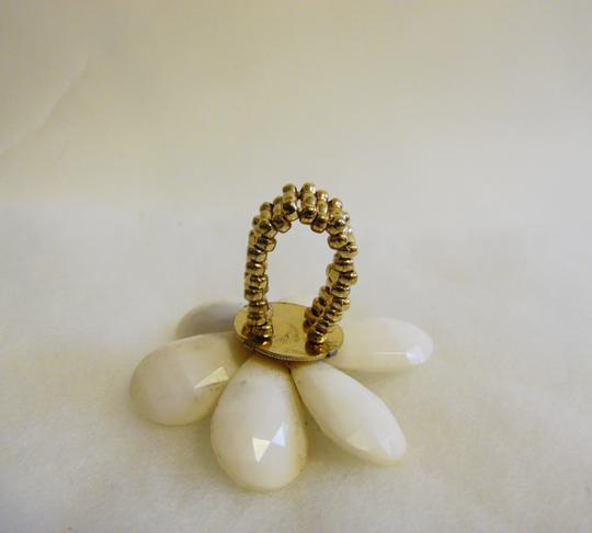 Other Large White Faceted Petal Clear Crystal Flower Stretch Statement Ring