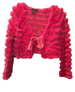 BCBGMAXAZRIA Rabbit Fur Pink Satin Top