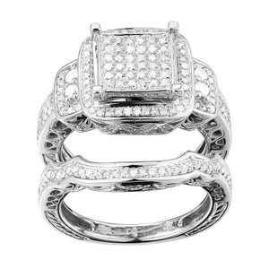 Beautiful 10k White Gold 0.9ct Tdw Diamond Engagement Or Anniversary Ring Set (g-h I1-i2)