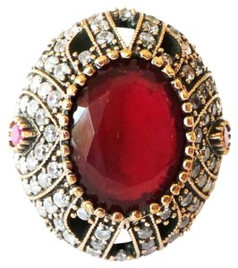 Other LARGE Genuine Red Ruby & White Topaz 925 Sterling Silver & Bronze RIng