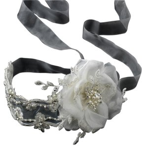 Other Cassandra Light Ivory Pearl & Rhinestone Wedding Bridal Ribbon Flower Headband - Sash