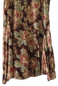 Josephine Chaus Silk Shirt Womans Midi Skirt Brown/multi