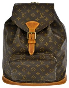 Louis Vuitton Monogram Canvas Leather Montsouris Backpack Backpack Gm Totes Luggage School Brown Travel Bag