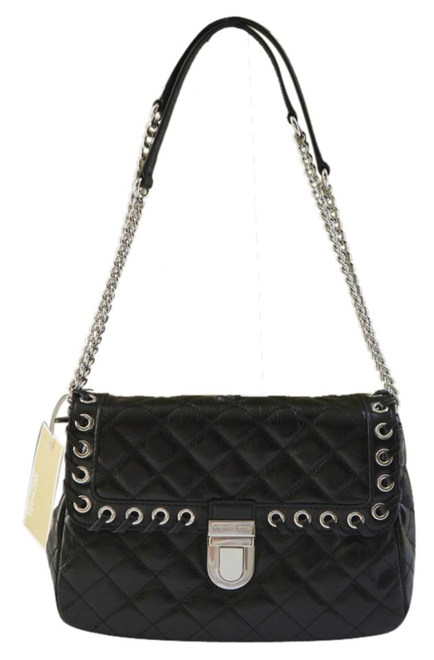 75ae8dbfd6af Michael Kors Quilted Hippie Grommet Sloan Large Black Leather ...