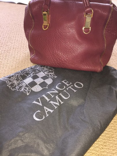 Vince Camuto Riley Handles Zippers Medium Size Satchel in Burgundy