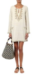 Mes Demoiselles short dress Cream w/ gold stitching. on Tradesy