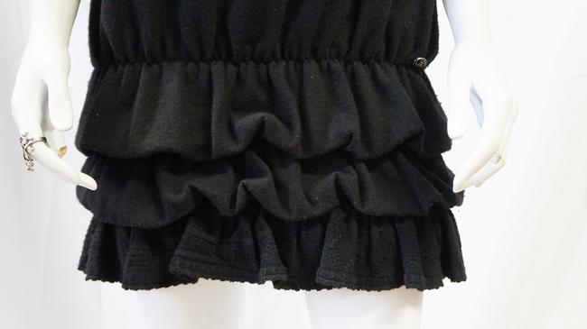 Chanel short dress Black Wool Knit Sweater Ruffle Bubble Spaghetti Strap Mini Tunic 8 Medium on Tradesy