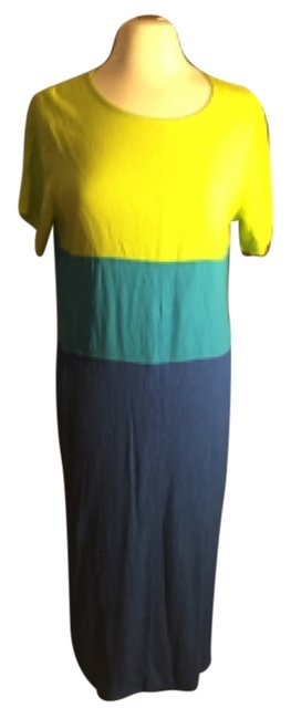 Item - Lemon Lime Yellow/Teal/Cobolt Blue # 61981 Long Casual Maxi Dress Size 10 (M)