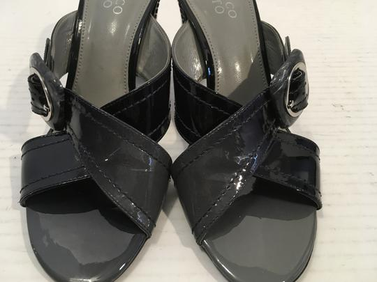 Franco Sarto Gray and black patent leather patent heels leather lining slip on open toe Mules