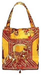 Hermès New Silky Pop Foldable La Danse Du Cheval Marwari Rare Yellow Leather Tote in Multi-Color