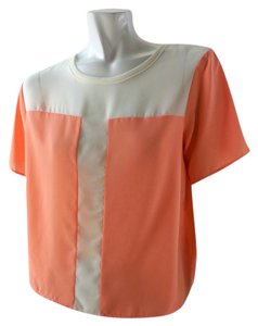 Elodie Orange Colorblocking Top Peach Ivory