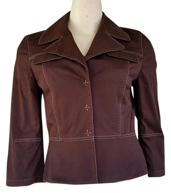 Gianni Bini Cotton Top-stitching Brown Blazer