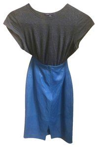 Tannery West Vintage Leather Leather Leather Skirt Electric Blue