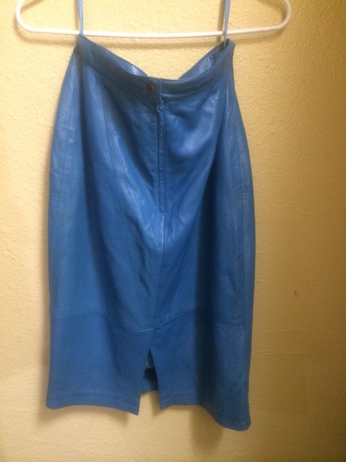 Tannery West Vintage Blue Leather Leather Blue Leather Skirt Electric Blue