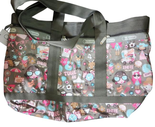 Item - Bag Top Zip Large with Pouch Multicolor Nylon Tote