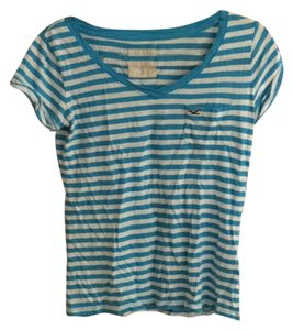 Hollister T Shirt Blue & white striped