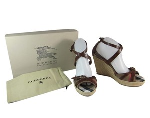 Burberry Leather Prorsum Wedge Heels Platform Nova Check House Sandals
