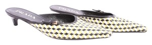 Prada Vintage Leather Green Black and White Mules