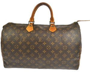 Louis Vuitton Monogram Canvas Speedy 40 Totes Classic Totes Weekend Travel Unisex Speedy Vintage Satchel in Brown