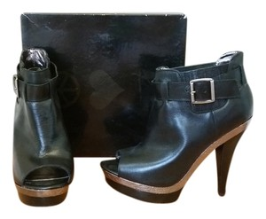 Steve Madden Leather Snakeskin Rocker Open Toe Black with Silver accents Boots