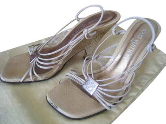 Preload https://item3.tradesy.com/images/louis-vuitton-light-beige-rare-limited-edition-italy-python-stripy-pewter-insole-pads-wedges-size-us-5092897-0-0.jpg?width=440&height=440