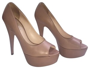 Prada Stiletto Hidden Peep Toe Nude Platforms