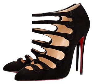 Christian Louboutin Ankle Strappy Straps Snap Black Boots