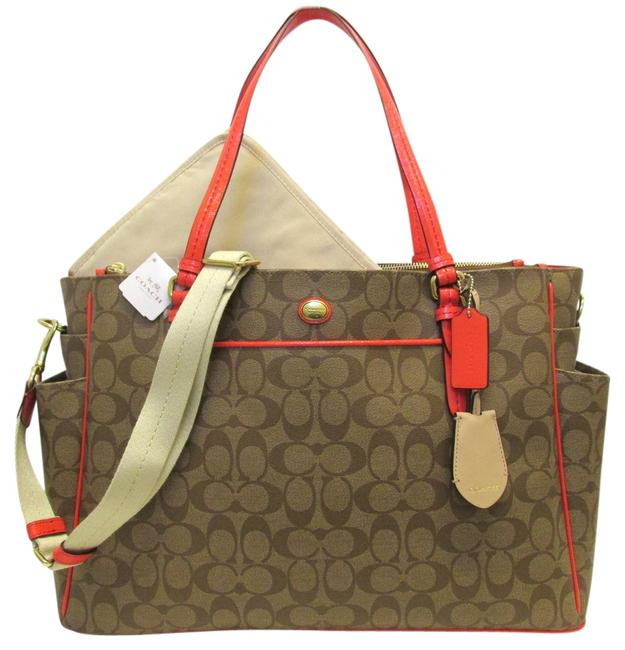 Item - Signature Multifuction Tote Khaki Persimmon Gold Pvc Patent Leather Brass Diaper Bag