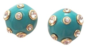 Kenneth Jay Lane KENNETH JAY LANE Enamel Rhinestones Gold Clip Earrings SIGNED --MINT!
