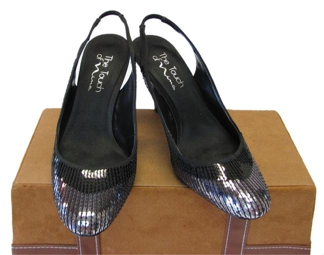 Item - Black Gray Very Good Condition Sequins Formal Shoes Size US 7 Regular (M, B)