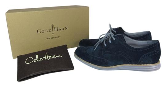 Cole Haan Leather Wingtip Brogue Oxford Blue Flats