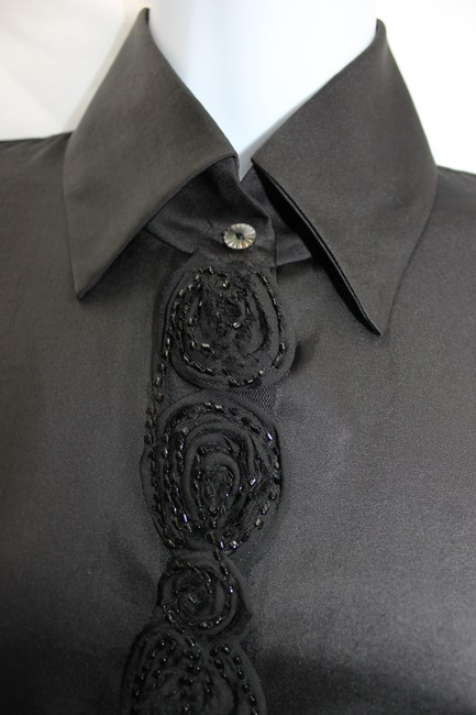 Bell Fine Garments By Embellished Black Silk Top