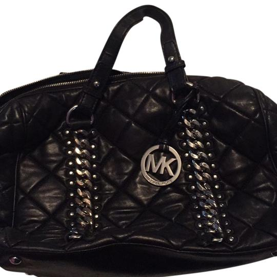 Michael Kors Edgy Studded Chain Leather Handbag Lambskin Quilted Satchel in Black