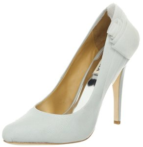 Badgley Mischka Wedding Bridal Rose Grey blue Silk Pumps