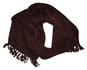 Other Dark Brown Textured Zig-Zag Fringed Scarf