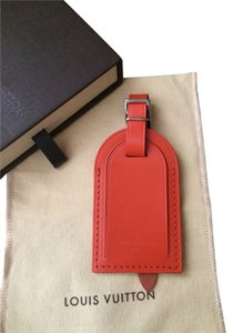 Louis Vuitton Authentic Louis Vuitton Pimento Orange Leather Luggage Tag Charm