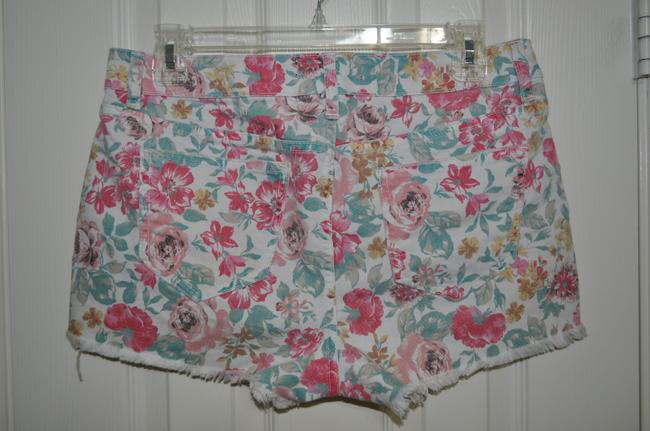 Forever 21 Floral Cut Off Shorts Pink