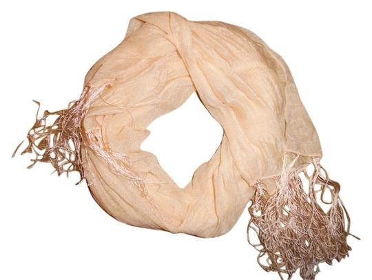 Other Pale Peach Sheer Stretchy Fringed Lightweight Scarf