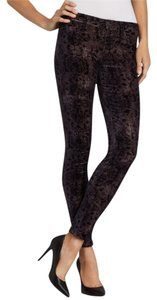 J Brand Tea Length Pants Stretch Skinny Floral Print Velvet Velveteen Corduroy Designer Fashion Style Modern Cool Edgy Chic Jeggings-Dark Rinse