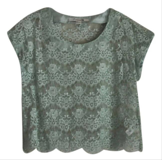 Forever 21 Lace Eyelash Top Green