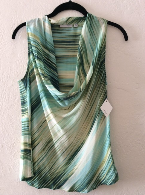 Halogen Silk Petite New Cowl Neck Top Green multi